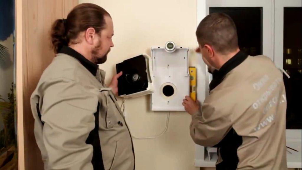 Монтирование прибора принудительной приточной вентиляции